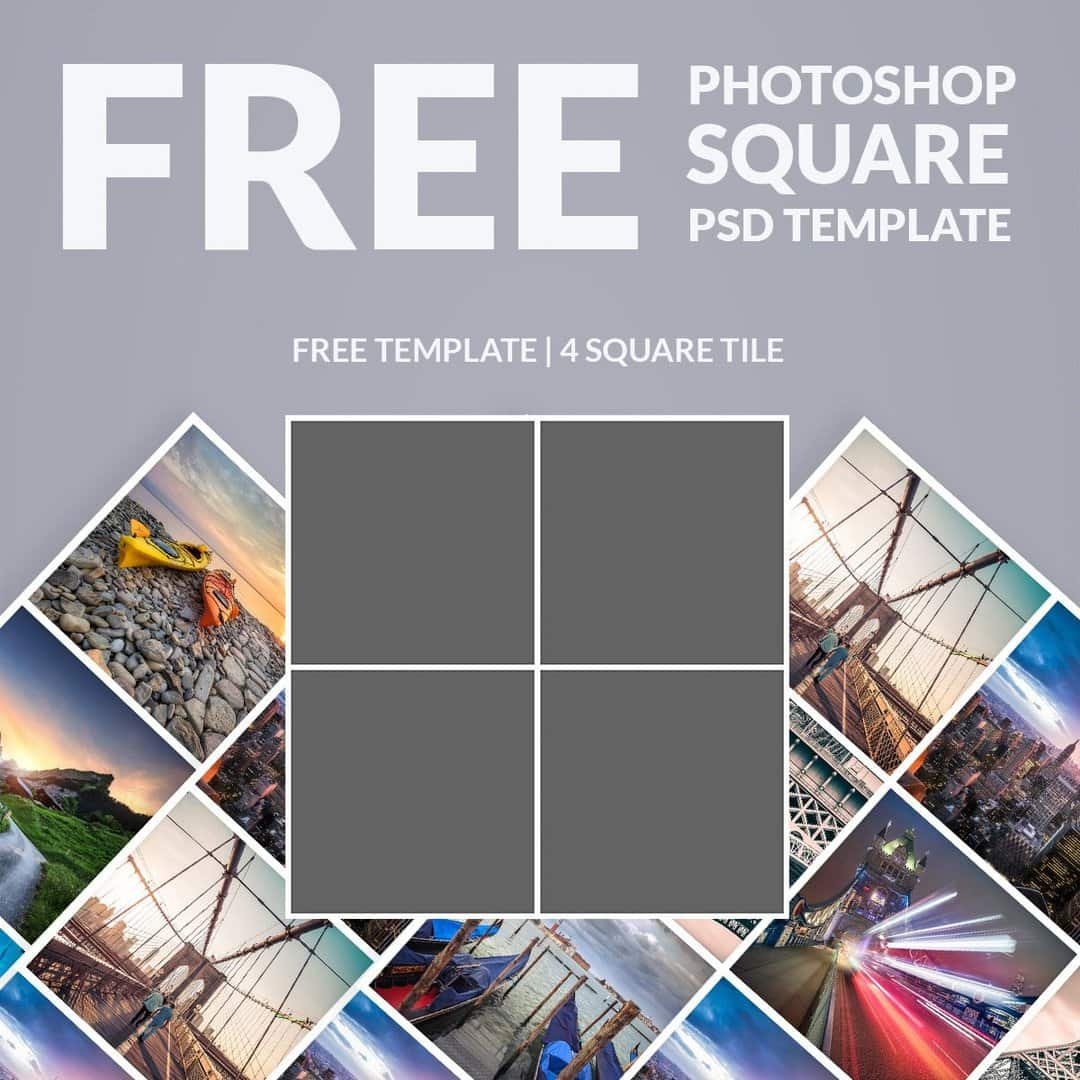 Free photoshop template photo collage square download now for 4 picture collage template