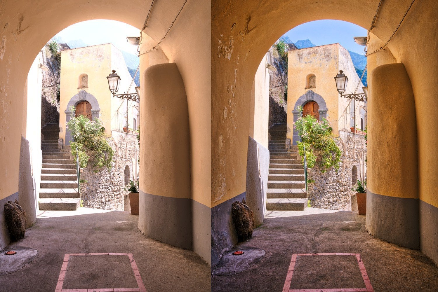 Free-Aurora-HDR-Preset-Textured-Doorway-Before and After